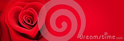 Red rose in the shape of a heart, valentines day banner