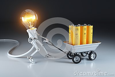 Cartoon personage lamp robot and trolley with batteries. Waste r