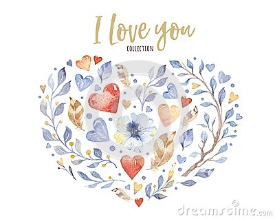 Beautiful floral love heart shape for valentine`s day or wedding design. Watercolor spring beautiful flowers decoration