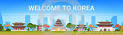 Welcome To Korea Poster Traditional Palace Landscape South Korean Temples Over Mountains Background Famous Asian