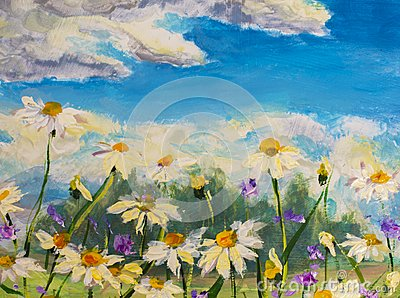 Painting of white daisies flowers, beautiful field flowers on canvas. Palette knife Impasto artwork.
