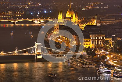 Budapest, Hungary, Budapest Parliament, Chain bridge, Danube river - night picture