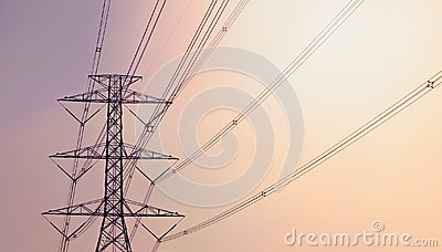 Electricity pylon against the violet and orange background