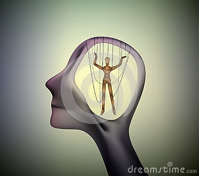 Man profile head with marionette inside, manipulate the people concept,