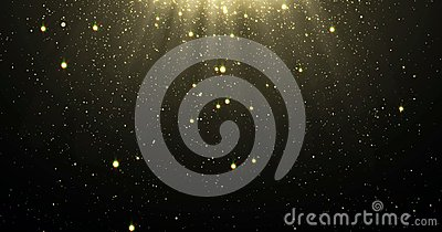 Abstract gold glitter particles background with shining stars falling down and light flare or glare overlay effect above for luxur