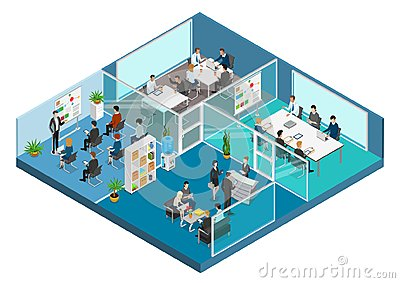 Flat 3d business isometric office interior vector