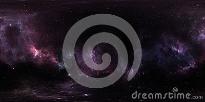 Space background with purple nebula and stars. Panorama, environment 360 HDRI map. Equirectangular projection, spherical panorama