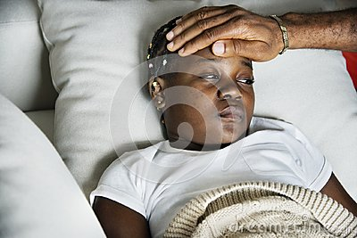 Girl sleeping with sickness on the bed