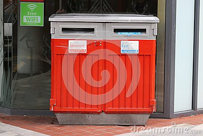 Standard and Fast New Zealand mail boxes in street
