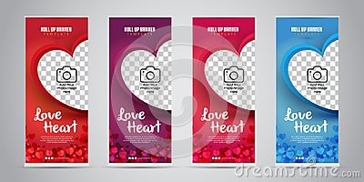 Love Heart Business Roll Up Banner with 4 Variant Colors Red, Purple, Pink/Magenta, Blue. Vector Illustration.