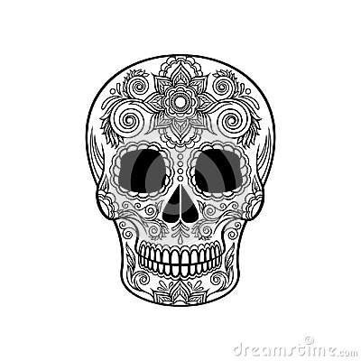 Mexican sugar skull with floral ornament, Day of the death black and white vector Illustration