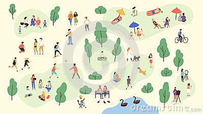 Various people at park performing leisure outdoor activities - playing with ball, walking dog, doing yoga and sports