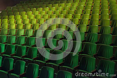Vintage cinema theater movies audience retro seating seats, 50s 60s green, nobody