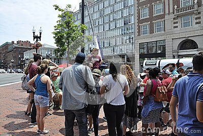 Cambridge MA, 30th june: Harvard Student Guides Group in Harvard Square from Cambridge downtown in Massachusettes State of USA