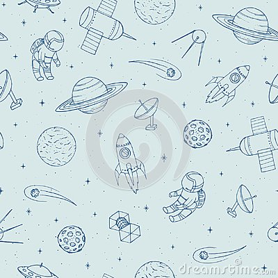 Hand drawn vector seamless pattern with cosmonauts, satelites, rockets, planets, moon, falling stars and UFO.