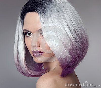 Ombre bob short hairstyle. Beautiful hair coloring woman. Trendy