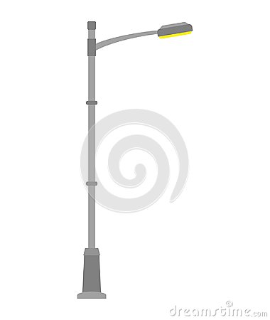 Street light isolated on white background. Outdoor Lamp post in flat style.
