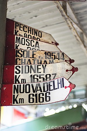 ancient signs with marked distances of the main cities of the world