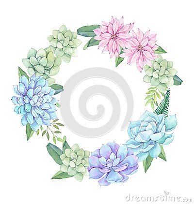 Watercolor illustration - wreath of succulents, flowers and leaves. Succulent and cactus clipart. Perfect for Wedding