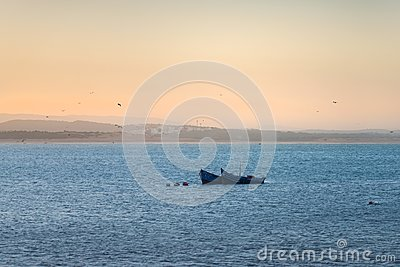 Two blue fishing boats in front of Essaouira city