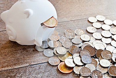 stock image of czech finance and economy - piggy bank and czech crown money - c