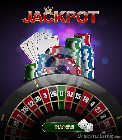 Vector stacks of red, blue, green casino chips top side view, playing cards poker four aces, jackpot glossy text, black roulette