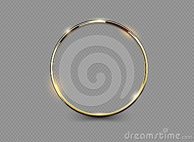 Abstract luxury golden ring on transparent background. Vector light circles spotlight light effect. Gold color round frame.