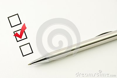 Survey template, questionnaire choice, marked check box with a pen on paper background