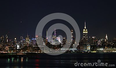Skyline New York City by night color and lights