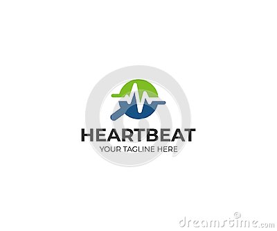 Magnifier and heartbeat logo template. Pulse trace and loupe vector design