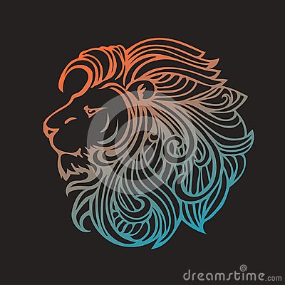 Ethnic patterned ornate hand drawn head of Lion. Black and white doodle vector illustration. Sketch for tattoo, poster