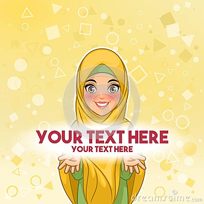 Muslim woman presenting text space vector illustration