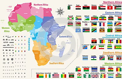 vector map of Africa continent colored by regions. All flags of African countries arranged in alphabetical order