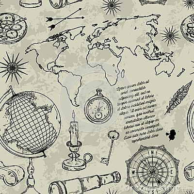 Seamless pattern with globe, compass, world map and wind rose. Vintage science objects set in steampunk style.