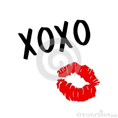 XOXO - hugs and kisses . Lip kiss. Red female lips. Valentines day. Vector
