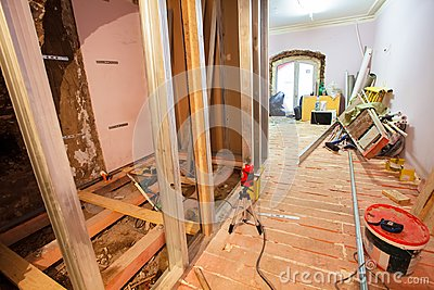 Interior of upgrade apartment with materials during on the remodeling, renovation, extension, restoration, reconstruction