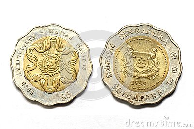 Two sides of the Singapore five dollar 50th United Nations Anniversary coin