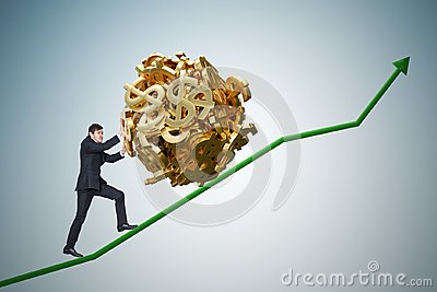 Sisyphus metaphore. Young businessman is maximizing earnings and pushing heavy boulder made of dollar symbol up on chart