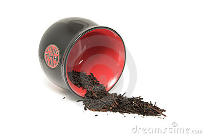 Cup with raw black tea