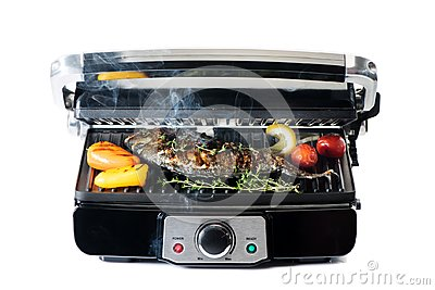 Fish and vegetables on electric grill
