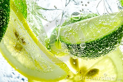Lemon drop in fizzy sparkling water, juice