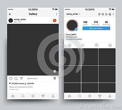 Smartphone photo frames display of mobile application inspired by instagram vector template