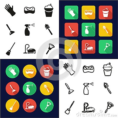 Cleaning All in One Icons Black & White Color Flat Design Freehand Set