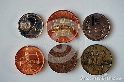 Six coins from the Czech Republic