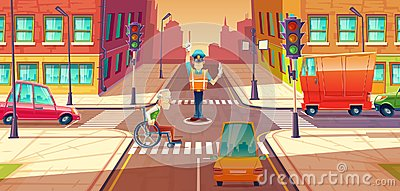 stock image of vector illustration of crossing guard adjusting transport moving, city crossroads with pedestrian, disabled person.