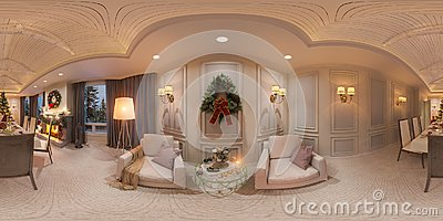 Christmas interior with a fireplace. 3d illustration of an interior design in a classic style. Seamless 360 panorama
