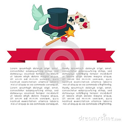 Magic show vector poster design of magician trick equipment hat, wand and cards