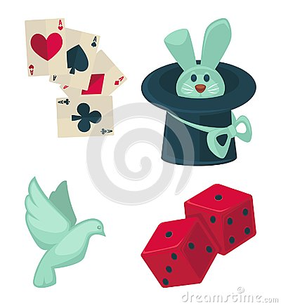 Magic show magician trick equipment vector flat bunny hat, dove and cards icons