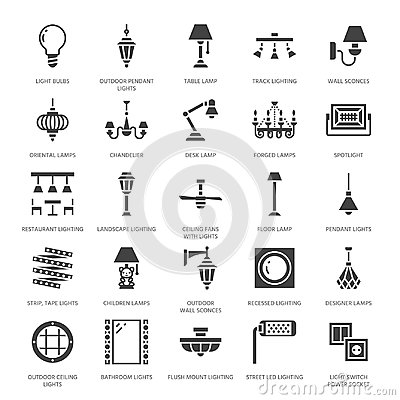 Light fixture, lamps flat glyph icons. Home and outdoor lighting equipment - chandelier, wall sconce, bulb, power socket