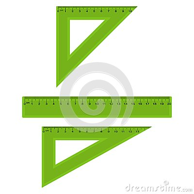Plastic measuring and triangle rulers in centimeters and millimeter. Vector.